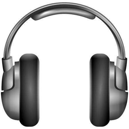 recording studio: Geïsoleerde illustratie metallic hoofdtelefoon Stock Illustratie