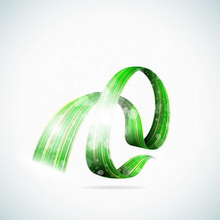 Abstract green shiny ribbons illustration