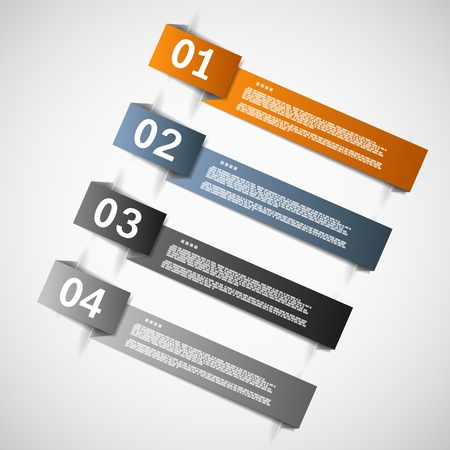 Color paper templates for progress or versions presentation illustration