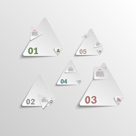 Triangle paper stickers for data presentation  Vector