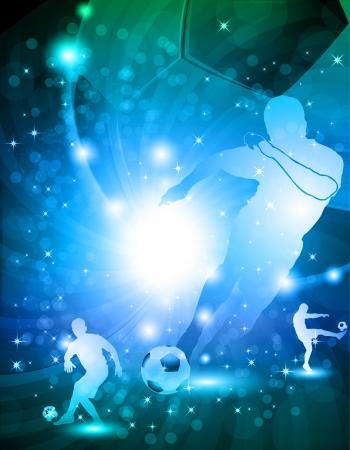 光沢のある抽象的なサッカーの背景イラスト