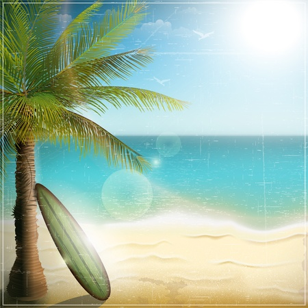 Ocean beach with surf board  Illustration