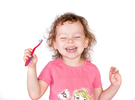 baby 4 5 years: Happy smile girl with toothbrush