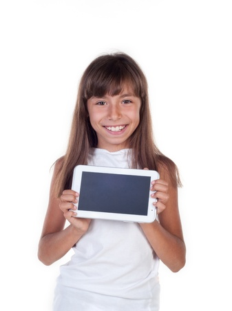 Pretty little girl with a Tablet PC isolated in white Stock Photo - 20995279