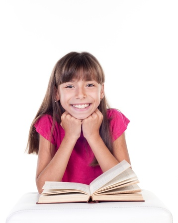 Cute little girl with books  School portrait  Isolated on white background Stock Photo - 21526384