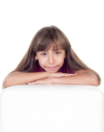 Portrait of a beautiful little girl on white background photo