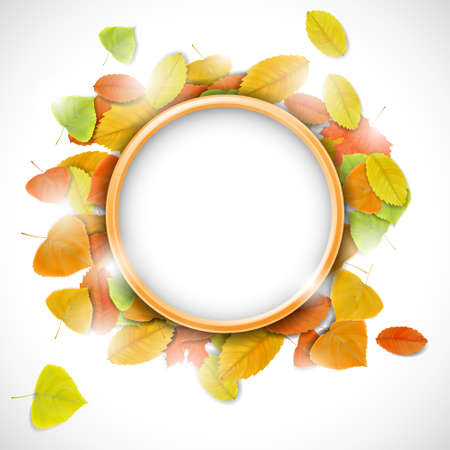 Place for text with autumn leaves  Illustration