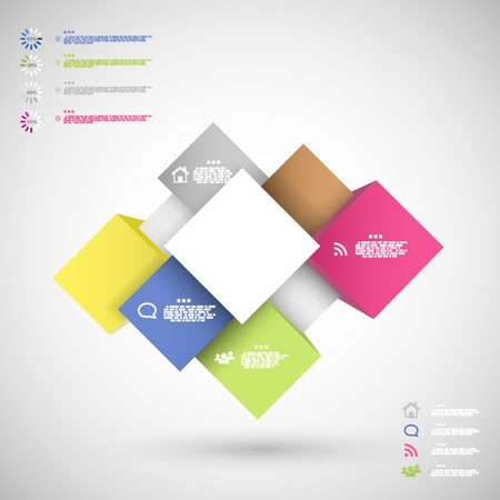 decision tree: Infographic colorful cubes for data presentation