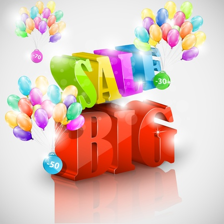 Big 3D sale with colorful bubbles Vector