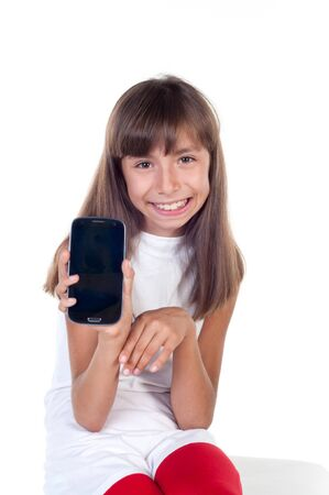 Little girl with  smartphone isolated on white background photo