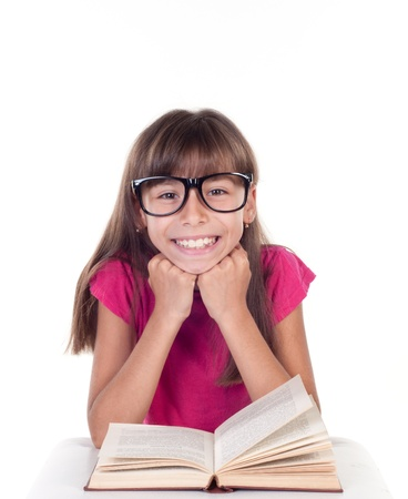 little girl with books wearing glasses, back to school concept, isolated over white photo