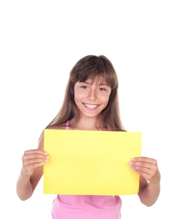 Smiling little girl holding empty yellow  board, isolated on white