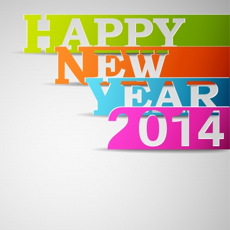 Happy new year 2014 paper strips Illustration