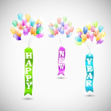 Happy new year ribbons with air bubbles illustration Stock Vector - 21786480