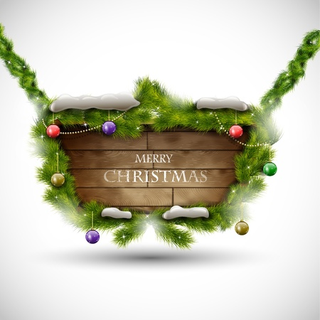 Merry Christmas wooden board with snow  illustration Illustration