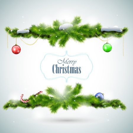 Christmas card with fir branches and balls  illustration Vector