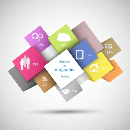 3 4: Colorful Infographic Cubes for any data presentation