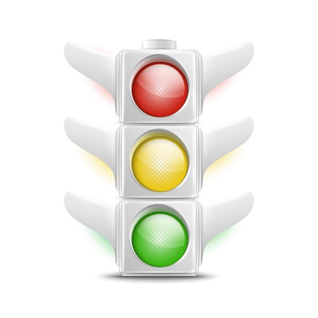 stop light: Realistic White Traffic Lights. Vector