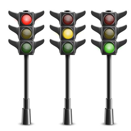 Black Traffic Lights On Pole Illustration