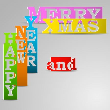 Happy New Year & Merry Xmas paper strips vector illustration Stock Vector - 22731251