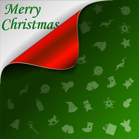 Merry Christmas green background with curled red corner Vector