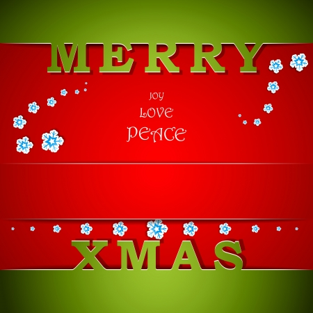 Merry Xmas green and red card with wishes vector illustration Vector