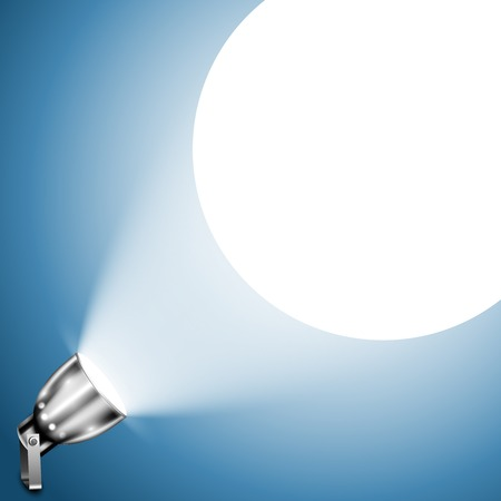 Metallic Spotlight Projecting On Blue Wall. Vector Illustration.