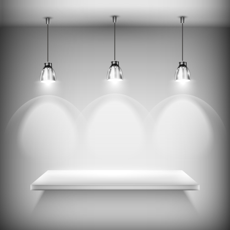 White Empty Shelf Illuminated By Spotlights. Vector Illustration. Illustration