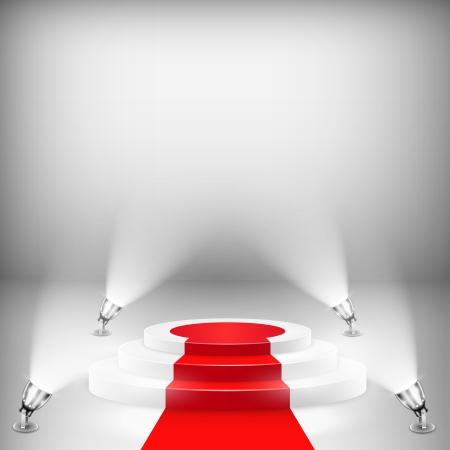 レッド カーペットで照らされた表彰台を獲得。ベクトル イラスト。