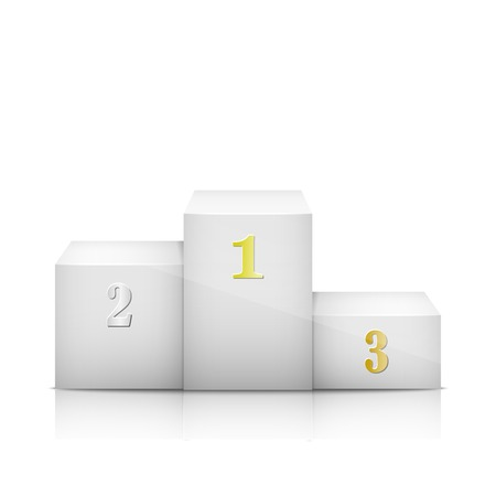 dais: White sports competition Pedestal With Numbers. Vector Illustration.