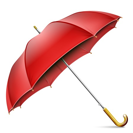 Realistic Open Red Umbrella Isolated On White Background. Vector Illustration.