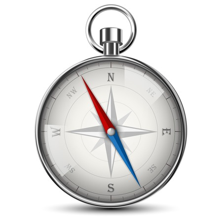Realistic Compass Isolated On White. Vector Illustration. Illustration