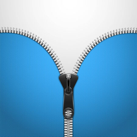 Metalic Zip On Blue Knitted Cloth. Vector Illustration.