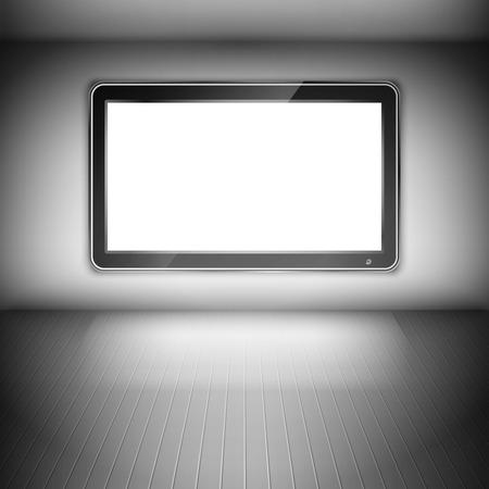 tv wall: TV Set On The Wall In Dark Room. Vector Illustration.