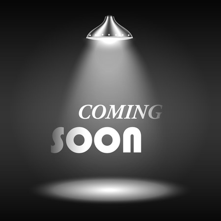 Coming Soon texte éclairé par Spotlight. Vector Illustration. Banque d'images - 25948330