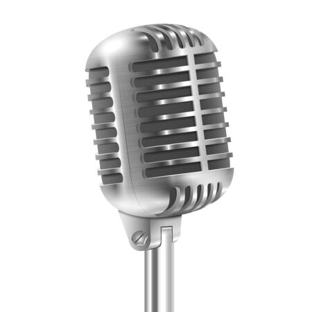 Isolated On White Metallic Retro Microphone. Vector Illustration. Illustration