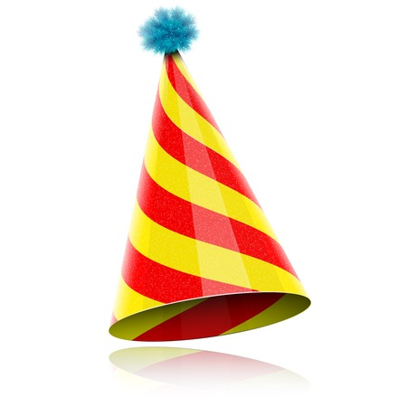 birthday hat: Colorful Glossy Hat For Celebration. Vector Illustration. Illustration