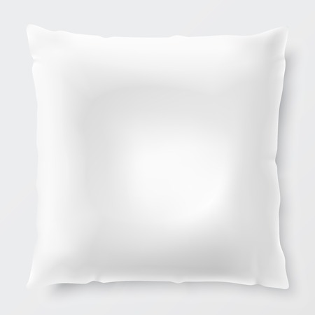 orthopedic: Isolated White Pillow With Shadow. Vector Illustration.