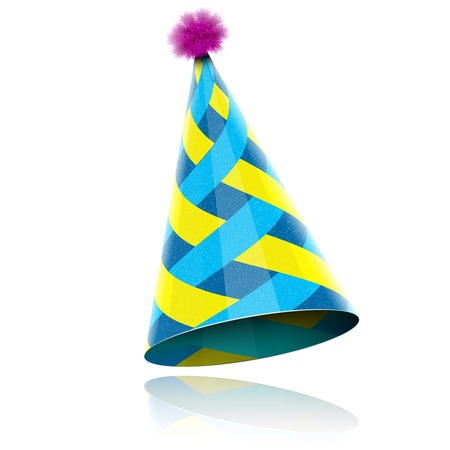 isolated: Glossy Cone-like Hat For Event Celebration. Vector Illustration.