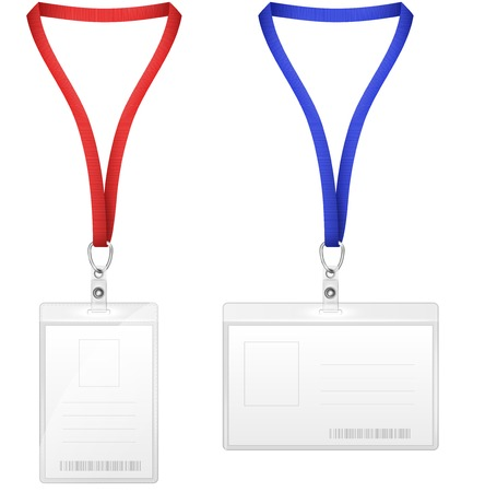 holder: Plastic Vertical And Horizontal Badges. Vector Illustration.