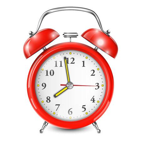awaken: Red Alarm Clock Isolated On White. Vector Illustration.