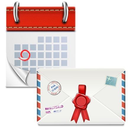 looseleaf: Loose-leaf Calendar With Closed Envelope. Vector Illustration.