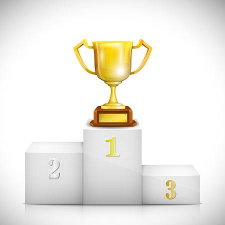 primer lugar: Pedestal ganador con trofeo de la Copa de Oro. Ilustración vectorial.