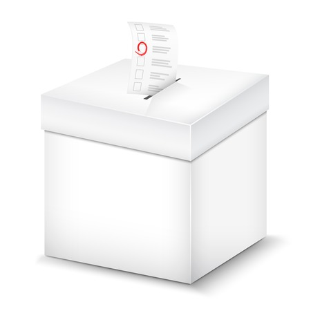 Ballot Box Isolated On White. Vector Illustration.
