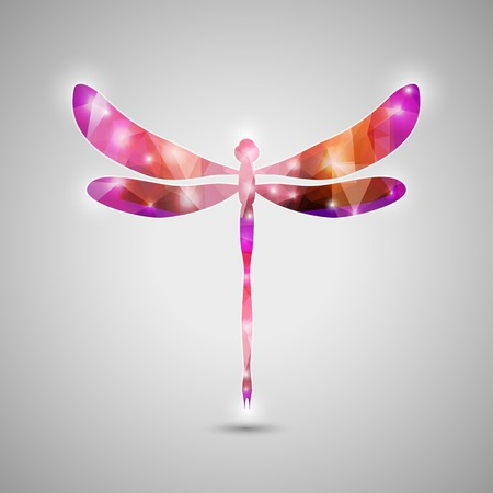 Abstract Trendy Colorful Dragonfly Icon. Vector Illustration