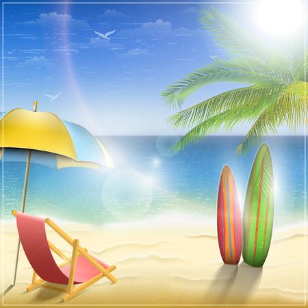 surfing beach: Sunny Ocean Coast With Palm. Vector Illustration.