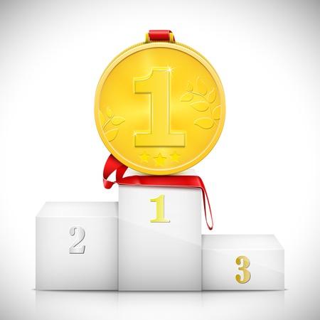 Gold Medal On Pedestal Of Winners. Vector Illustration.