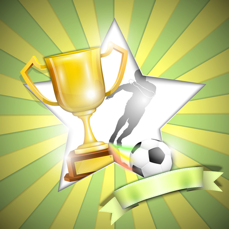 Soccer Poster With Trophy Cup. Vector Illustration. Illustration