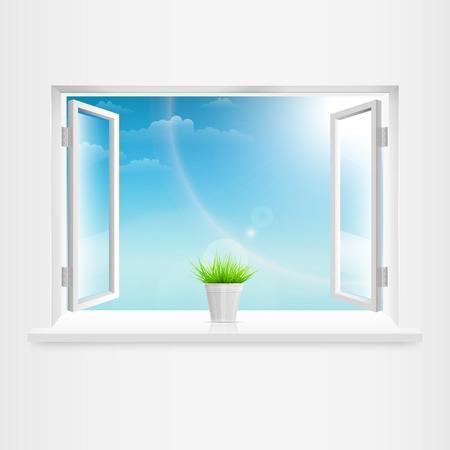 white window: Ventana blanca abierta con la maceta. Ilustraci�n vectorial. Vectores