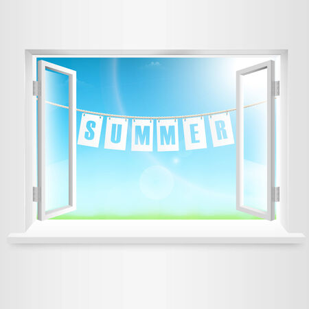 Summer Banner Hanging Out Of Window. Vector Illustration. Vector
